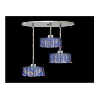 Elegant Lighting Mini 3 Light Pendant in Chrome with Swarovski Strass Sapphire Crystal 1283D-R-S-SA/SS