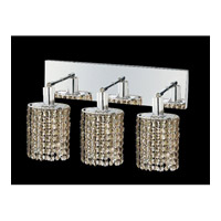 Mini 3 Light 15 inch Chrome Vanity Wall Light in Golden Teak, Swarovski Strass, Ellipse