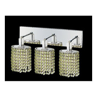 Mini 3 Light 15 inch Chrome Vanity Wall Light in Light Peridot, Swarovski Strass, Ellipse