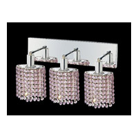 Mini 3 Light 15 inch Chrome Vanity Wall Light in Rosaline, Swarovski Strass, Ellipse