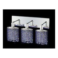 Mini 3 Light 15 inch Chrome Vanity Wall Light in Sapphire, Swarovski Strass, Ellipse