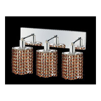 Mini 3 Light 15 inch Chrome Vanity Wall Light in Topaz, Swarovski Strass, Ellipse
