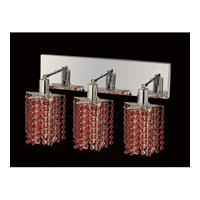 Elegant Lighting Mini 3 Light Vanity in Chrome with Swarovski Strass Bordeaux Crystal 1283W-O-P-BO/SS