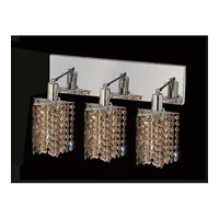 Mini 3 Light 15 inch Chrome Vanity Wall Light in Golden Teak, Swarovski Strass, Star