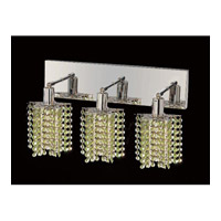 Mini 3 Light 15 inch Chrome Vanity Wall Light in Light Peridot, Swarovski Strass, Star
