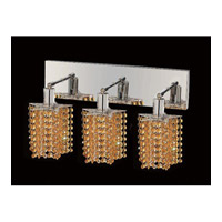 Elegant Lighting Mini 3 Light Vanity in Chrome with Swarovski Strass Light Topaz Crystal 1283W-O-P-LT/SS