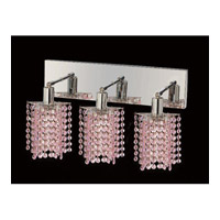 Elegant Lighting Mini 3 Light Vanity in Chrome with Swarovski Strass Rosaline Crystal 1283W-O-P-RO/SS