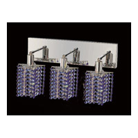Mini 3 Light 15 inch Chrome Vanity Wall Light in Sapphire, Swarovski Strass, Star
