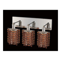 Elegant Lighting Mini 3 Light Vanity in Chrome with Swarovski Strass Topaz Crystal 1283W-O-P-TO/SS