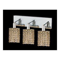 Mini 3 Light 15 inch Chrome Vanity Wall Light in Golden Teak, Swarovski Strass, Round