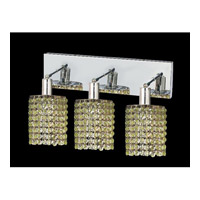 Elegant Lighting Mini 3 Light Vanity in Chrome with Swarovski Strass Light Peridot Crystal 1283W-O-R-LP/SS