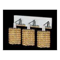 Mini 3 Light 15 inch Chrome Vanity Wall Light in Light Topaz, Swarovski Strass, Round