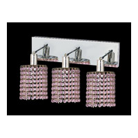 Mini 3 Light 15 inch Chrome Vanity Wall Light in Rosaline, Swarovski Strass, Round