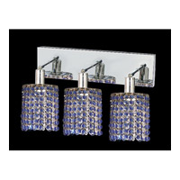 Mini 3 Light 15 inch Chrome Vanity Wall Light in Sapphire, Swarovski Strass, Round