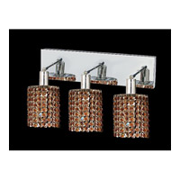 Mini 3 Light 15 inch Chrome Vanity Wall Light in Topaz, Swarovski Strass, Round