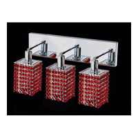 Mini 3 Light 15 inch Chrome Vanity Wall Light in Bordeaux, Swarovski Strass, Square