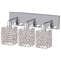 Elegant Lighting 1283W-O-S-CL/RC Mini 3 Light 15 inch Chrome Vanity Wall Light in Clear, Royal Cut, Square