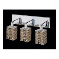 Elegant Lighting Mini 3 Light Vanity in Chrome with Swarovski Strass Golden Teak Crystal 1283W-O-S-GT/SS