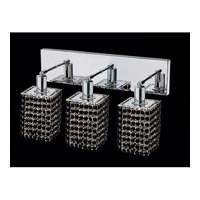 Elegant Lighting Mini 3 Light Vanity in Chrome with Swarovski Strass Jet Black Crystal 1283W-O-S-JT/SS