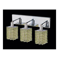 Mini 3 Light 15 inch Chrome Vanity Wall Light in Light Peridot, Swarovski Strass, Square