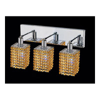 Mini 3 Light 15 inch Chrome Vanity Wall Light in Light Topaz, Swarovski Strass, Square