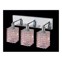 Elegant Lighting Mini 3 Light Vanity in Chrome with Swarovski Strass Rosaline Crystal 1283W-O-S-RO/SS