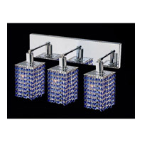 Elegant Lighting Mini 3 Light Vanity in Chrome with Royal Cut Sapphire Crystal 1283W-O-S-SA/RC