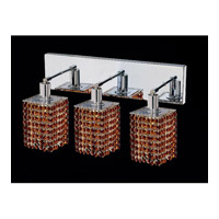 Elegant Lighting Mini 3 Light Vanity in Chrome with Swarovski Strass Topaz Crystal 1283W-O-S-TO/SS