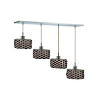 Elegant Lighting 1284D-O-E-JT/RC Mini 4 Light 26 inch Chrome Pendant Ceiling Light in Jet Black, Royal Cut, Rectangle, Ellipse alternative photo thumbnail