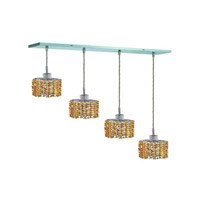 Elegant Lighting 1284D-O-E-LT/RC Mini 4 Light 26 inch Chrome Pendant Ceiling Light in Light Topaz, Royal Cut, Rectangle, Ellipse alternative photo thumbnail