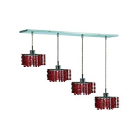 Elegant Lighting 1284D-O-P-BO/RC Mini 4 Light 26 inch Chrome Pendant Ceiling Light in Bordeaux, Royal Cut, Rectangle, Star alternative photo thumbnail