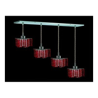 Elegant Lighting Mini 4 Light Pendant in Chrome with Royal Cut Bordeaux Crystal 1284D-O-P-BO/RC