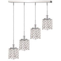 Mini 4 Light 26 inch Chrome Pendant Ceiling Light in Clear, Royal Cut, Rectangle, Star