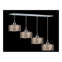 Elegant Lighting Mini 4 Light Pendant in Chrome with Royal Cut Golden Teak Crystal 1284D-O-P-GT/RC