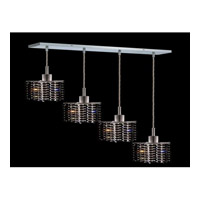 Elegant Lighting Mini 4 Light Pendant in Chrome with Royal Cut Jet Black Crystal 1284D-O-P-JT/RC