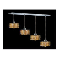 Elegant Lighting Mini 4 Light Pendant in Chrome with Royal Cut Light Topaz Crystal 1284D-O-P-LT/RC