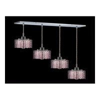 Elegant Lighting Mini 4 Light Pendant in Chrome with Royal Cut Rosaline Crystal 1284D-O-P-RO/RC