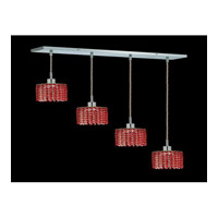 Elegant Lighting Mini 4 Light Pendant in Chrome with Royal Cut Bordeaux Crystal 1284D-O-R-BO/RC