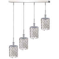 Mini 4 Light 26 inch Chrome Pendant Ceiling Light in Clear, Royal Cut, Rectangle, Round