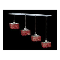 Elegant Lighting Mini 4 Light Pendant in Chrome with Royal Cut Bordeaux Crystal 1284D-O-S-BO/RC