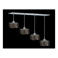 Elegant Lighting Mini 4 Light Pendant in Chrome with Royal Cut Jet Black Crystal 1284D-O-S-JT/RC