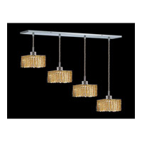 Elegant Lighting Mini 4 Light Pendant in Chrome with Royal Cut Light Topaz Crystal 1284D-O-S-LT/RC