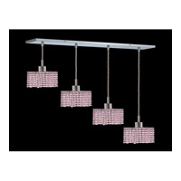 Elegant Lighting Mini 4 Light Pendant in Chrome with Royal Cut Rosaline Crystal 1284D-O-S-RO/RC