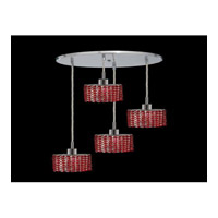 Elegant Lighting Mini 4 Light Pendant in Chrome with Royal Cut Bordeaux Crystal 1284D-R-E-BO/RC