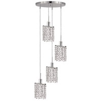 Mini 4 Light 10 inch Chrome Pendant Ceiling Light in Clear, Royal Cut, Round, Ellipse