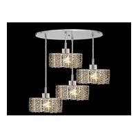 Elegant Lighting Mini 4 Light Pendant in Chrome with Swarovski Strass Golden Teak Crystal 1284D-R-E-GT/SS