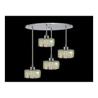 Elegant Lighting Mini 4 Light Pendant in Chrome with Royal Cut Light Peridot Crystal 1284D-R-E-LP/RC