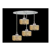 Elegant Lighting Mini 4 Light Pendant in Chrome with Royal Cut Light Topaz Crystal 1284D-R-E-LT/RC