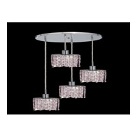 Elegant Lighting Mini 4 Light Pendant in Chrome with Royal Cut Rosaline Crystal 1284D-R-E-RO/RC