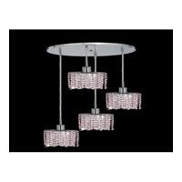 Elegant Lighting Mini 4 Light Pendant in Chrome with Royal Cut Rosaline Crystal 1284D-R-E-RO/RC